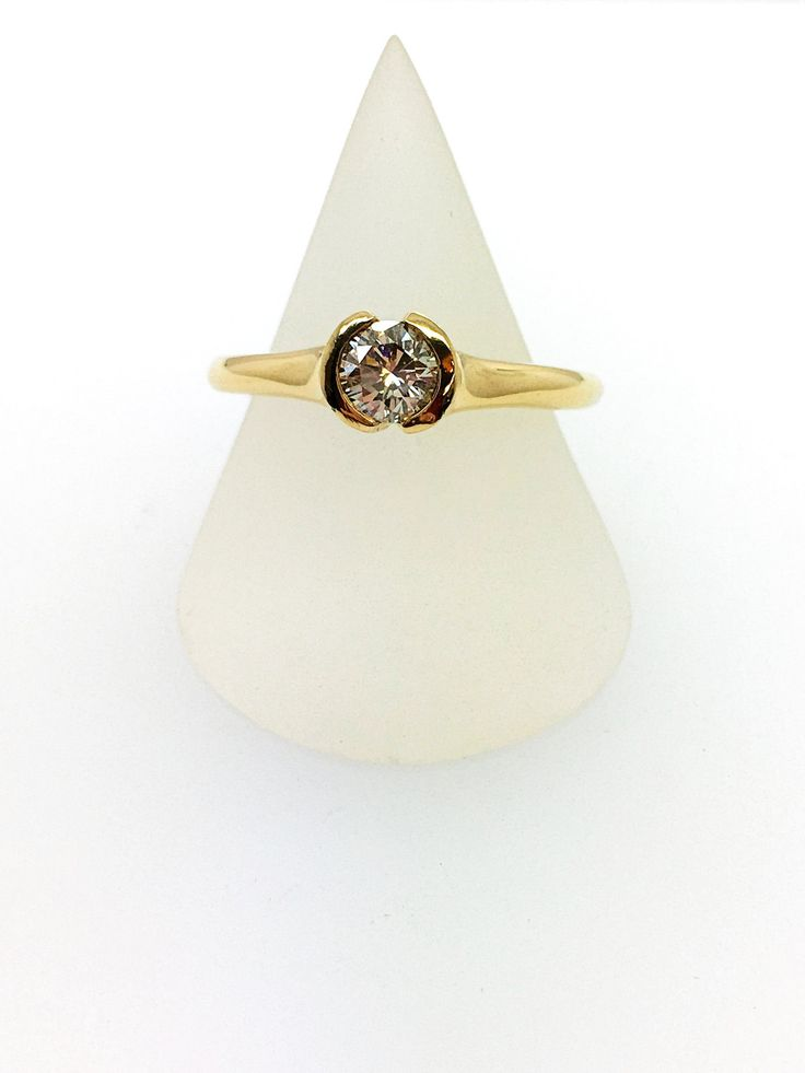 Diamond Ring - 18ct Yellow Gold Douglas Hughes Ring - Tension Set Round Brilliant by DougHughesJewellery on Etsy