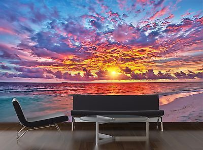 Sunset over ocean Mural Photo Wallpaper Decor Paper Wall Background 3D