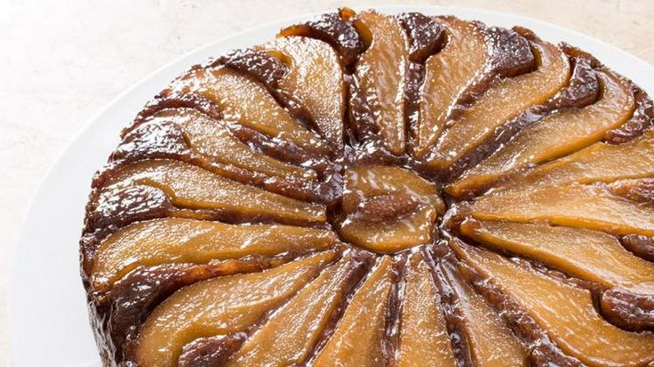 Pears are in abundance during the fall, and there's no better way to celebrate this fruit than to make this pear-walnut upside-down cake.