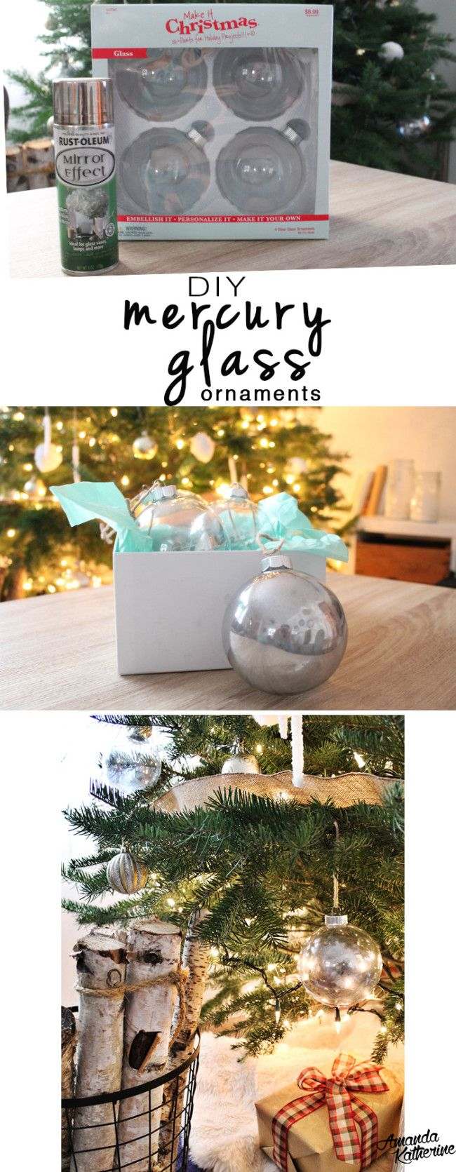 DIY Mercury Glass Ornaments | Still looking for some ornaments that won't break the bank? These simple mercury glass ornaments are easy to make and add just the sparkle you're looking for! http://www.amandakatherine.com/diy-mercury-glass-ornaments/