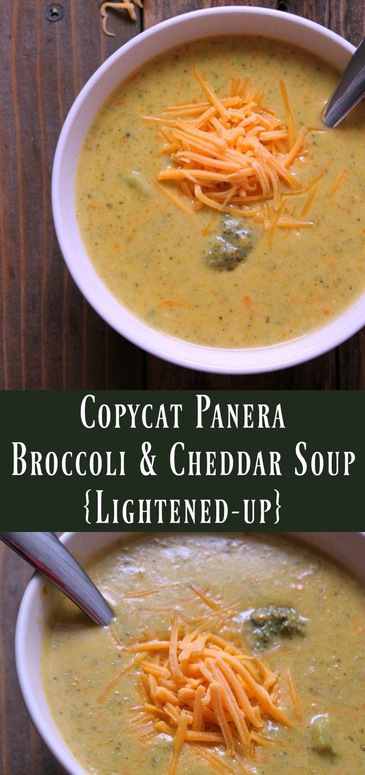 Copycat Panera Broccoli and Cheddar Soup Lightened Up. Healthy make-ahead soup recipe