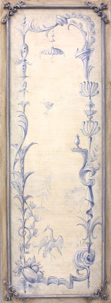 "#3268  Blue Chinoiserie Panel B 75""x27"""