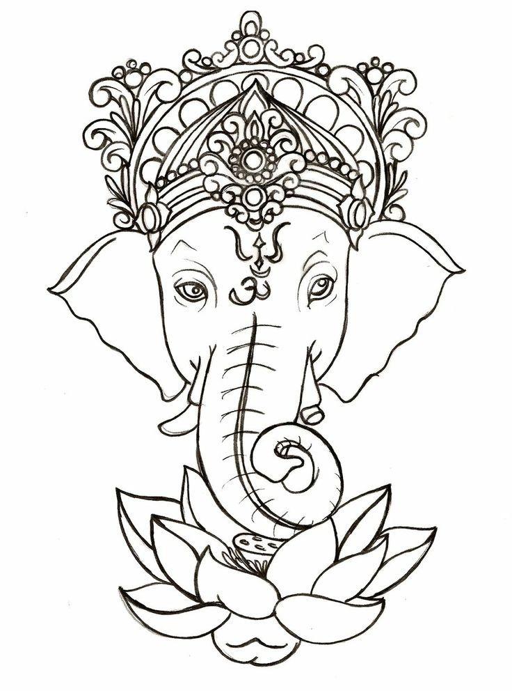 Indian Elephant Drawing Pinterest Lotus