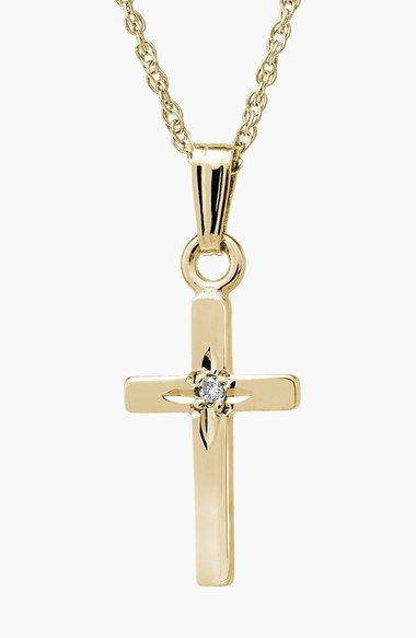 Mignonette 14k Gold & Diamond Cross Necklace (Girls) available at #Nordstrom