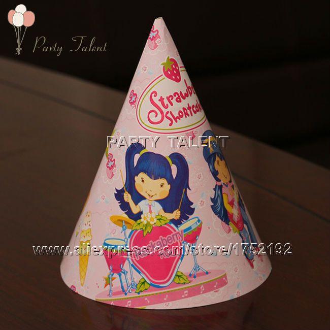 Ну вечеринку поставляет 20 шт. девушка клубника принцесса тема ну вечеринку, день рождения ну вечеринку бумаги украшения cap hat розовый мультфильм шаблон