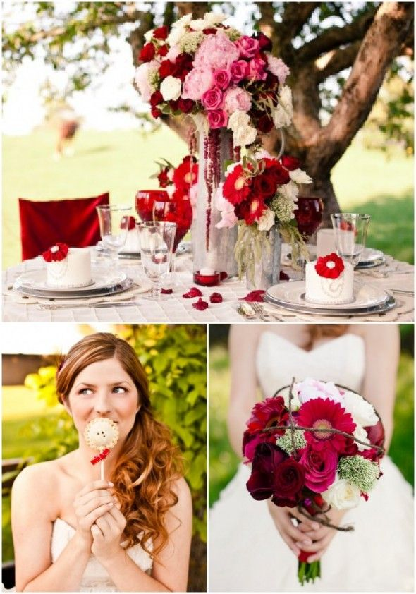 Valentine's Day may be over, but red never goes out of style. Make it a wedding theme any day! Via @Libby Hart Wedding Chic