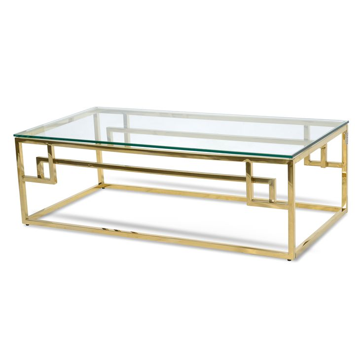 Anderson 1.2m Coffee Table   Glass Top   Golden Stainless Steel Base
