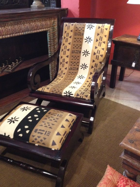 African Chairs Plantation Chair Amp Ottoman Custom African Upholstery African
