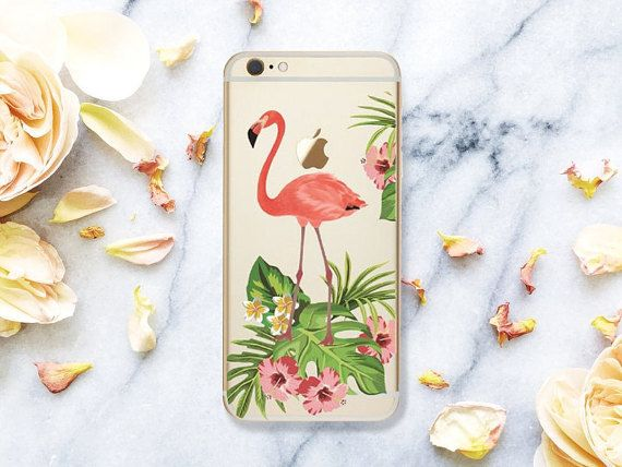 Floral Flamingo  iPhone 7 6 6S Case by GreenyView on Etsy