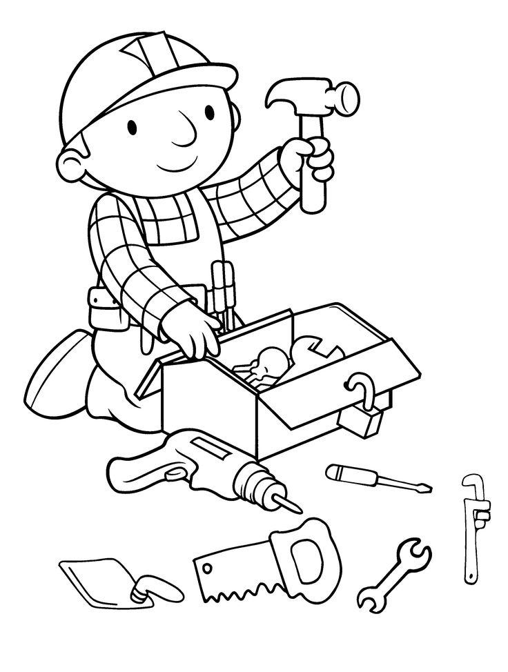 bob the builder preparing tools coloring for kids - Bob The Builder Coloring Pages