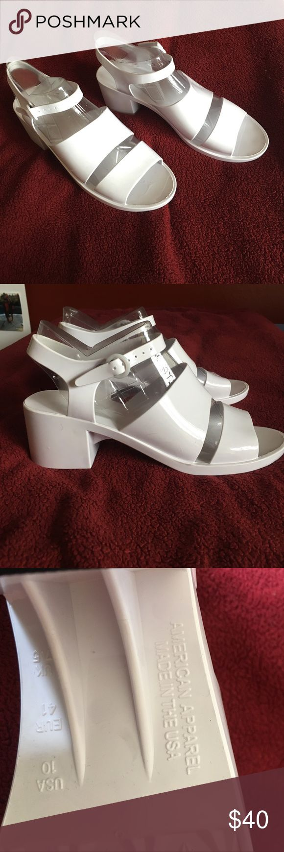 American Apparel Classic Jelly Heel White Size 10 white jelly heels. Never worn American Apparel Shoes Sandals