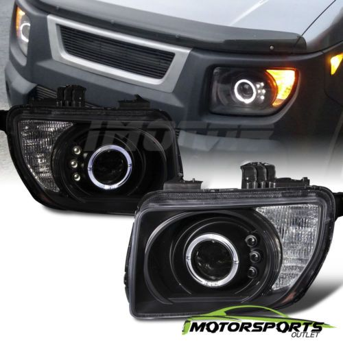 LED-Halo-2003-2004-2005-2006-2007-2008-Honda-Element-Black-Projector-Headlights