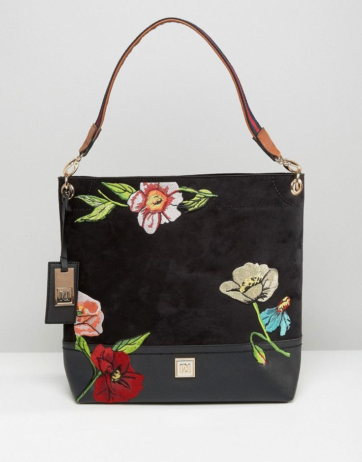 River Island Embroidered Slouch Bag