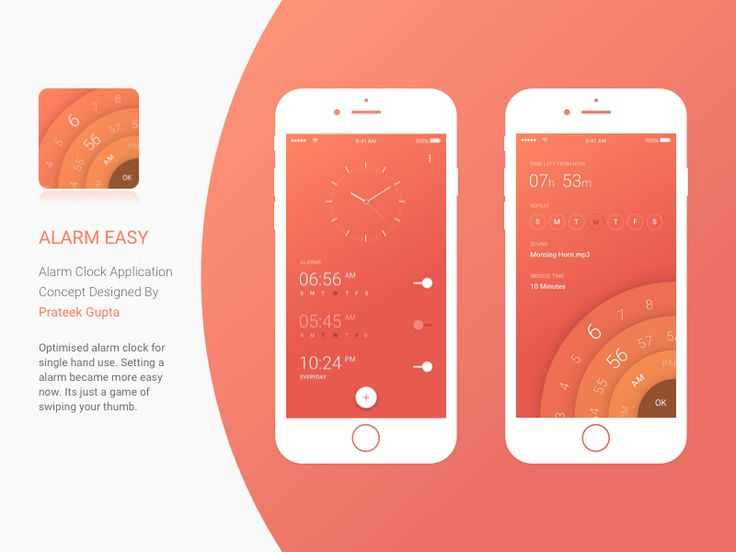 Alarm Easy Alarm Clock Application Concept Designed By Prateek Gupta Optimised alarm clock for single hand use. Setting a alarm became more easy now. Its just a game of swiping your thumb. This ...