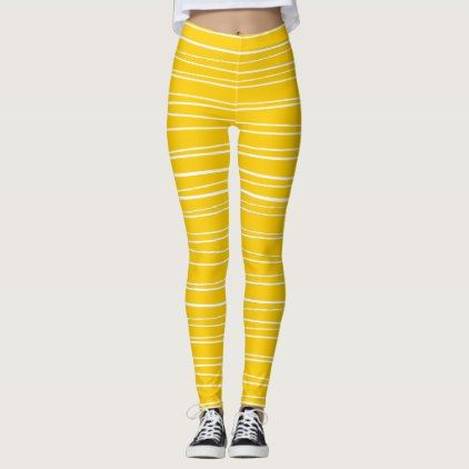 Spanish Stripe Yellow leggings - retro clothing outfits vintage style custom