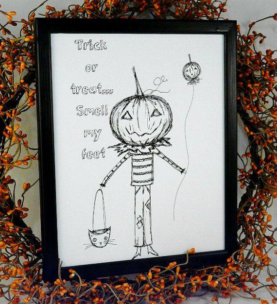 Хэллоуин трюк лечить тыквы мужчину подписать цифровой - PDF печать черного искусства рисования принтер uprint слова винтажный стиль старой бумаги 8 х 10 рамка говоря