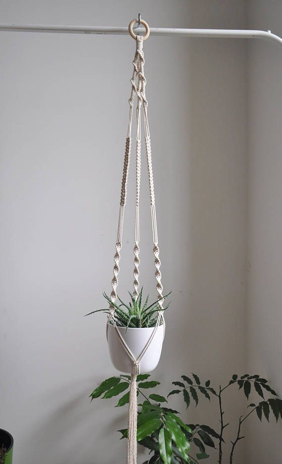 Macrame plant hanger with different knots. Hanging plant holders are great way to add some greenery into you home. Perfect as a housewarming gift for any plant lover. Hot trend!   READY TO SHIP > Only one unique piece - made with pure joy of creation - wh