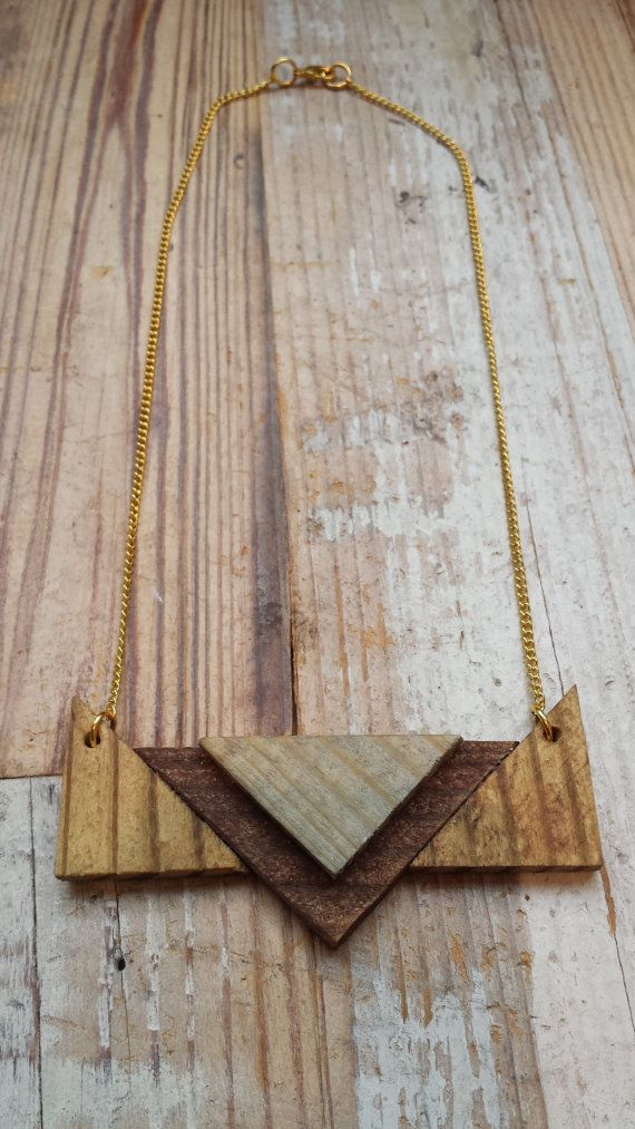 Wooden geometric necklace with gold leaf by ADesignJourney on Etsy, $24.00