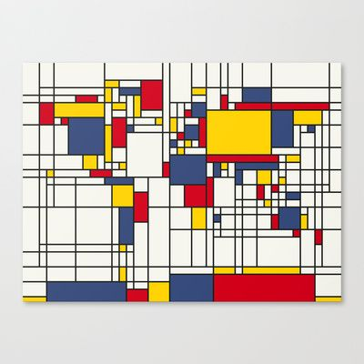 World Map Abstract Mondrian Style Canvas Print by ArtPause - $85.00