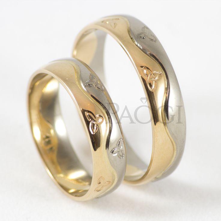 Paogi - Alianzas en Oro Blanco Paladio 18k y Oro Amarillo 18k con Nudos Celtas Grabados
