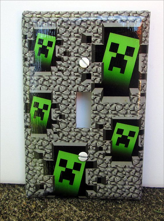 Handmade MINECRAFT Switch Plate Cover Kids Room Gift     Creepers Everywhere