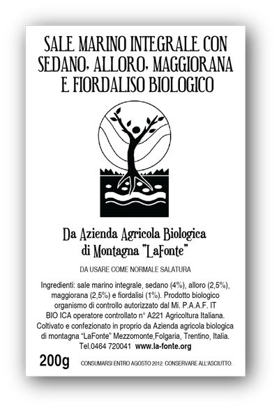 """Packaging label for aromatic salts created by an independent organic food producer in Italy, Azienda Agricola Biologica di Montagna """"La Fonte""""."""