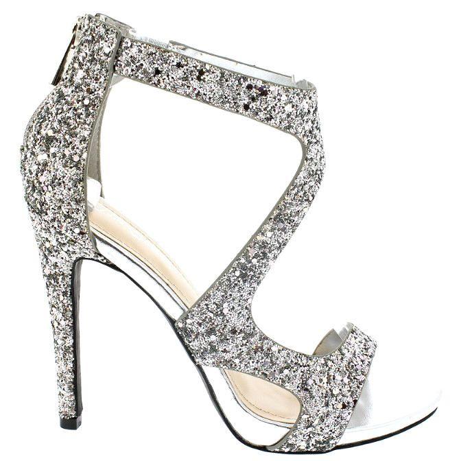 Silver Open toe Glitter Sandal Stiletto #heels