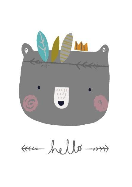 Aless Baylis 'Kaart Hello Bear'