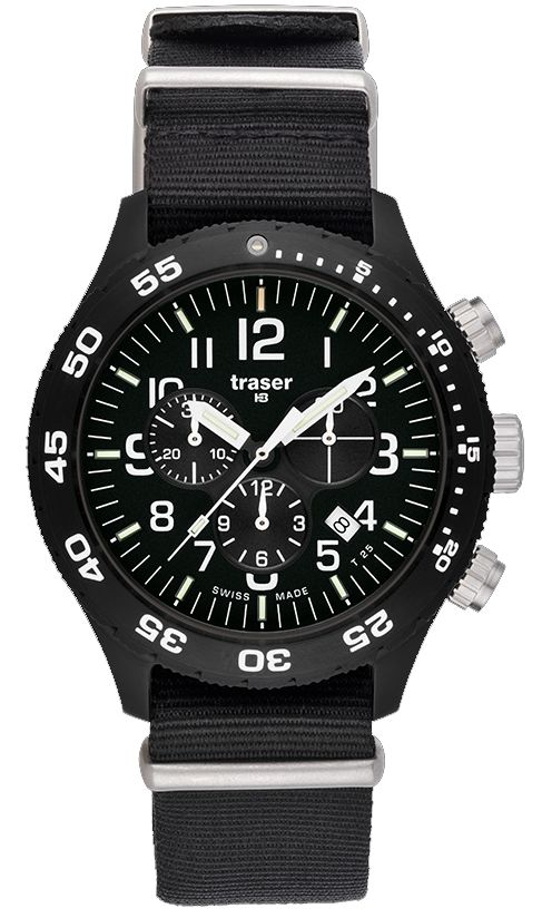 The Traser Outdoor Pioneer Chronograph with Nato Strap is an all-in-one H3 Traser that combines the classic style of the Traser Chronograph with the extra durability of the Traser Outdoor Pioneer model. It is the first H3 that comes with an illuminated dial, improving the visibility of all information through any environment. Product Features Appearance and Size: The sleek black case, black face dial with three subdials, and nato strap makes this military grade watch an all-occasion…
