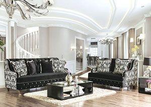 Nazzareno Black Sofa and Loveseat Set w/Pillows, /category/living-room/nazzareno-black-sofa-and-loveseat-set-w-pillows.html