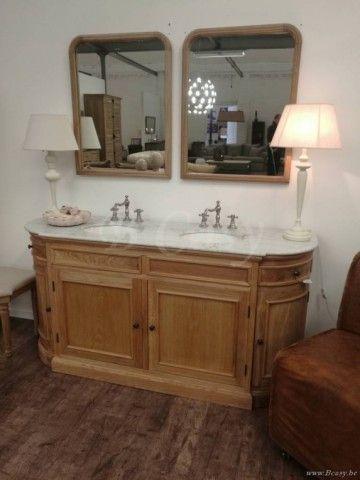 "PR Interiors San Diego Landelijke dubbele eiken Wastafel in weathered oak-eik 170 Landelijk badkamermeubel<span style=""font-size: 0.01pt;""> PR-Rogiers-Home-Interiors-CRW/423/03 badkamerkast-onderkast-wastafelkast-met-lavabos-cabinet </span>"