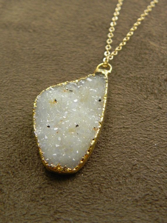 Warm Druzy Brazilian Agate Pendant and 14kt Gold FIlled Chain Necklace Neutrals.  Allison Mooney.