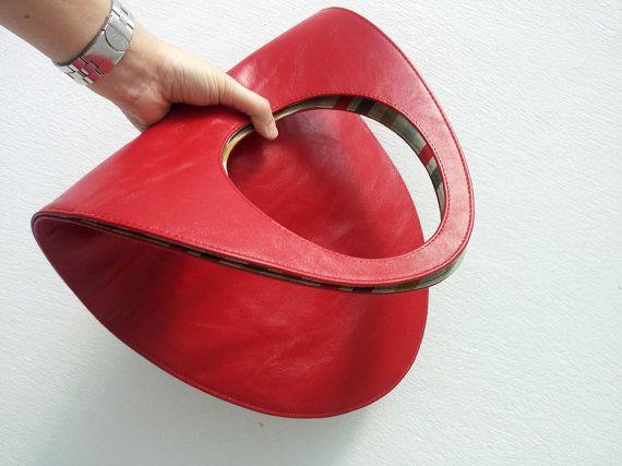 Pelle rossa borsa rossa tote bag grande in pelle di stellachili