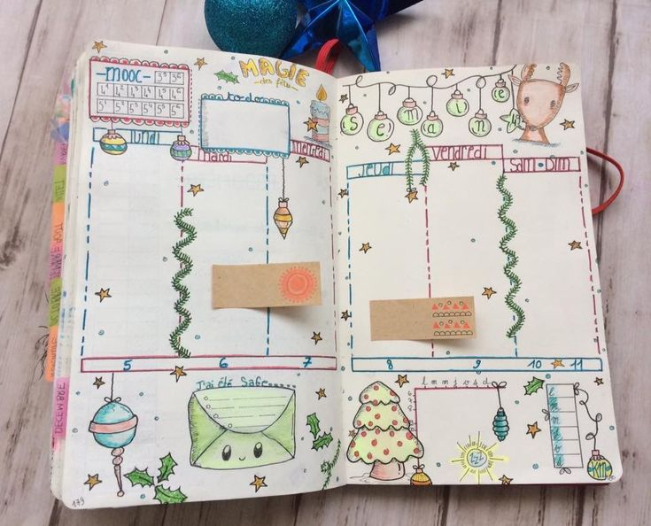 Bullet journal - weekly spread - christmas