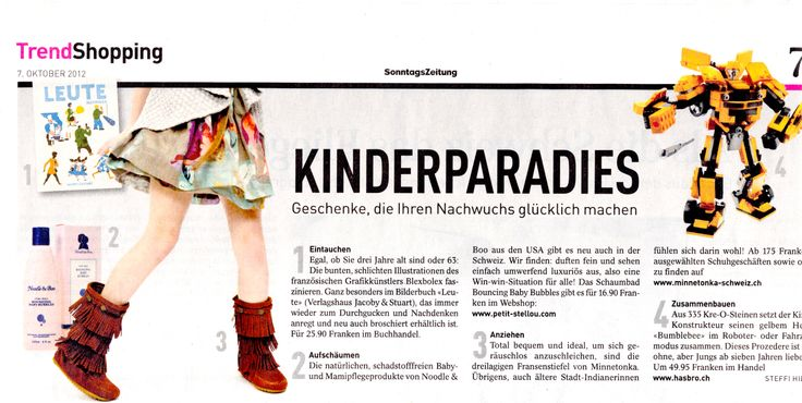 Noodle & Boo Skincare from Petit Stellou e-boutique in the Trend editition of Sonntags Zeitung