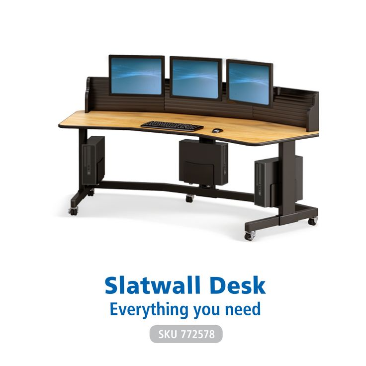 We know how to adapt designs to meed the need of both comfort and productivity – and that's what the AFC Multi-Monitor Slatwall Desk was built for. Easy to configure with a large array of accessories, everything you need is within reach.