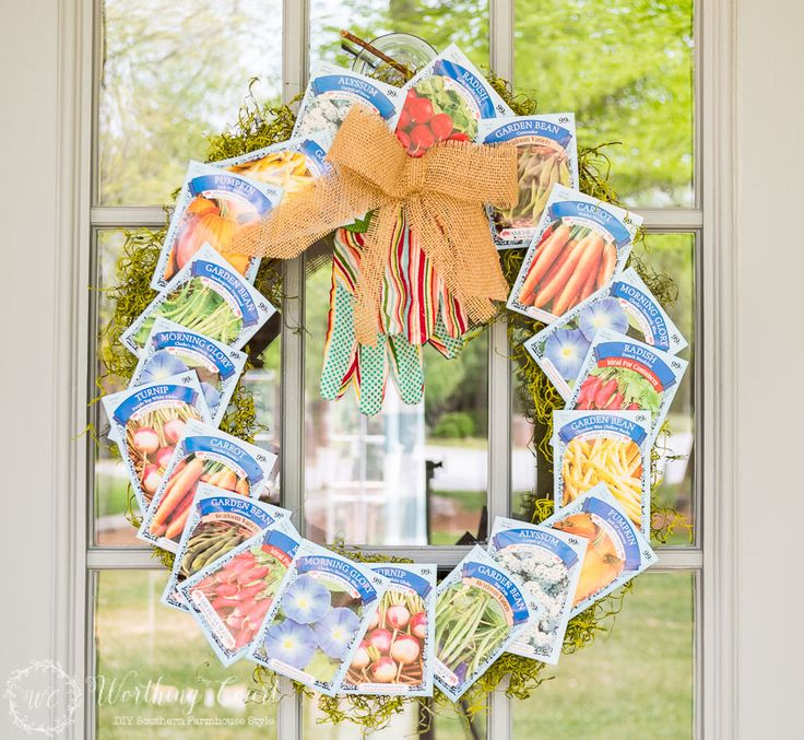 Farmhouse Front Porch with Seed Packet Wreath - as featured at the Weekend Wind Down Blog Party