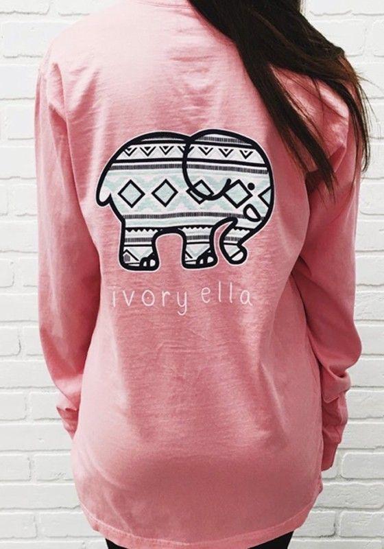 Pink Ivory Ella Elephant Pocket Print Long Sleeve Cute Casual T-Shirt
