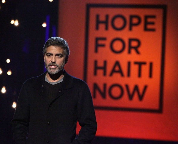 """George Clooney organized a """"Hope for Haiti Now"""" telethon raising fifty-seven million."""
