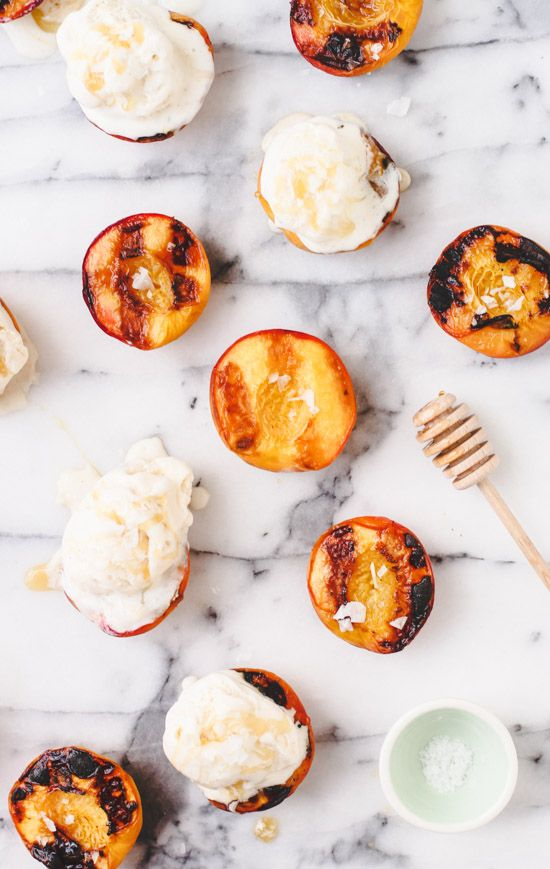 Grilled Peaches and Ice Cream for National Peaches and Cream Day