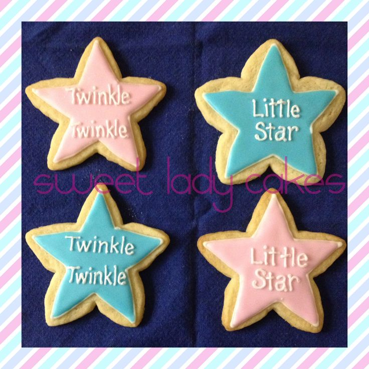 Twinkle Twinkle Little Star, How we wonder what you are.  Great cookies for a Gender Reveal party or Baby Shower.