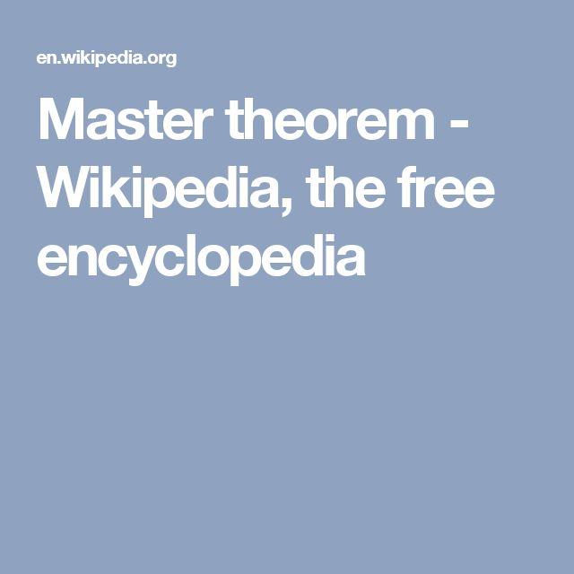 Master theorem - Wikipedia, the free encyclopedia