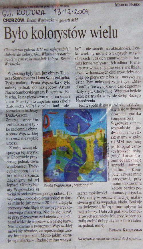 Było kolorystów wielu_Łukasz Kałębasiak Malarstwo Beaty Wąsowskiej w galerii MM w Chorzowie. 2003