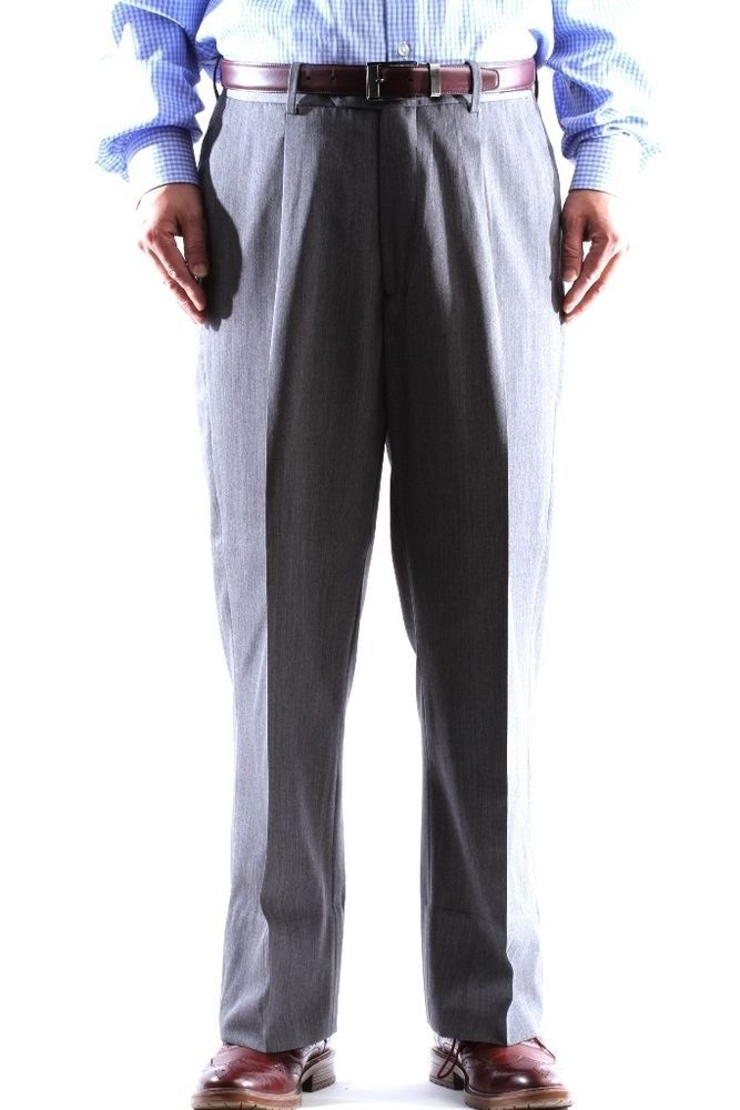 Mens 100 Virgin Wool Super Gabardine Gray Dress Pants Size 36
