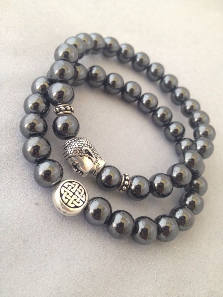 Hematite Endless Knot & Buddha Bracelet Set - Get 1 or Both - Custom Sizes Available by TheArtsyNomad on Etsy https://www.etsy.com/listing/165176043/hematite-endless-knot-buddha-bracelet