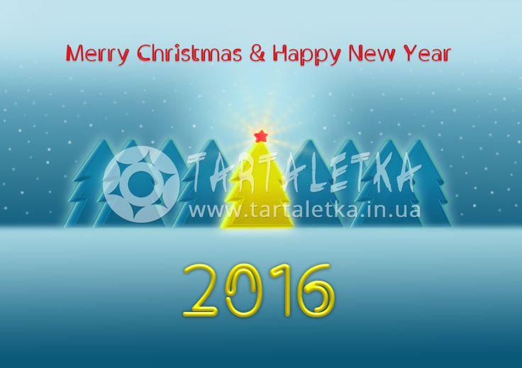 Открытка С Рождеством и Новым Годом 2016 / Greeting Card Merry Christmas and Happy New Year 2016   Tartaletka