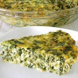 Омлет со шпинатом и творогом (творожная запеканка со шпинатом и сыром)))