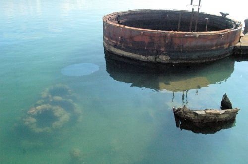 USS Arizona Memorial and Pearl Harbor Visitor Center Photos: Oil Still Leaking from the Wreckage of the USS Arizona