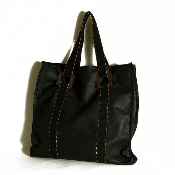 Leather handbag  Extra large black leather by ElenaVandelliBags