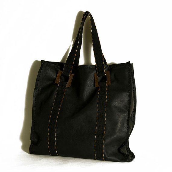 Leather handbag  Extra large black leather by ElenaVandelliBags